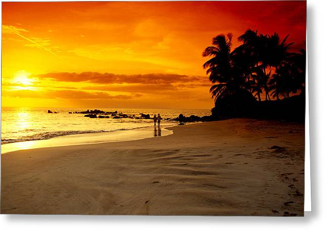 Far Above Greeting Cards - Makena Beach Greeting Card by Dave Fleetham - Printscapes