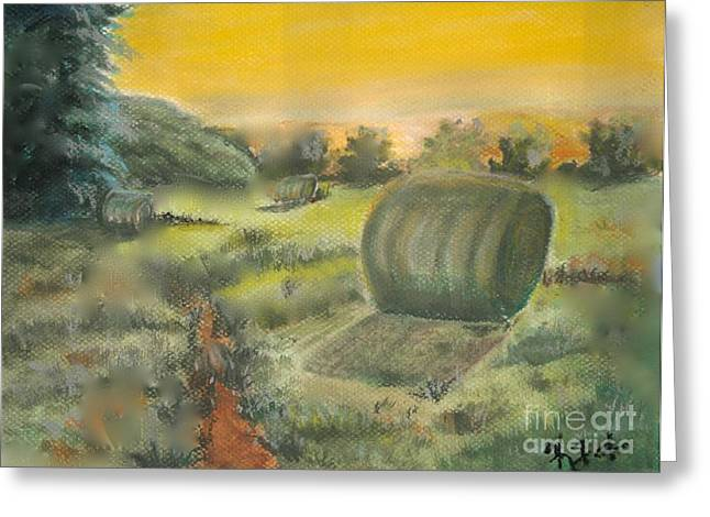 Bale Pastels Greeting Cards - Makin Hay While the Sun Shines Greeting Card by Kathelen Weinberg