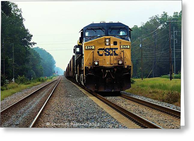 One Point Perspective Greeting Cards - Makin Tracks Greeting Card by Laura Ragland