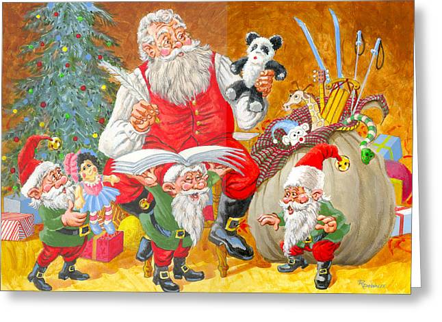 St Nick Greeting Cards - Making A List Checking It Twice Greeting Card by Richard De Wolfe