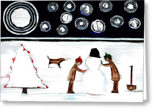 Playing Cards Mixed Media Greeting Cards - Making A Snowman At Christmas 2 Greeting Card by Patrick J Murphy