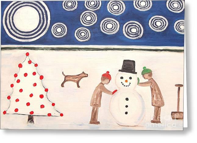 Ipad Poster Kids Art Greeting Cards - Making A Snowman At Christmas Greeting Card by Patrick J Murphy