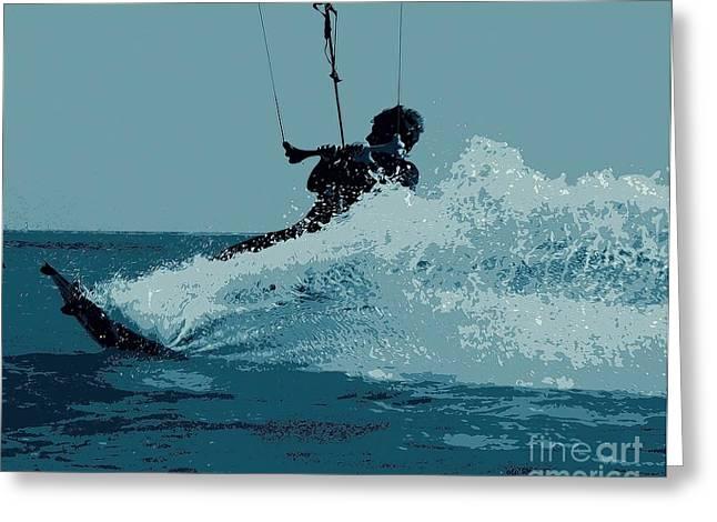 Kite Surfing Greeting Cards - Making a Splash Greeting Card by Pamela Blizzard
