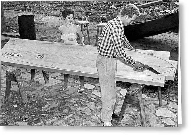 Making A Surfboard Greeting Card by Underwood Archives