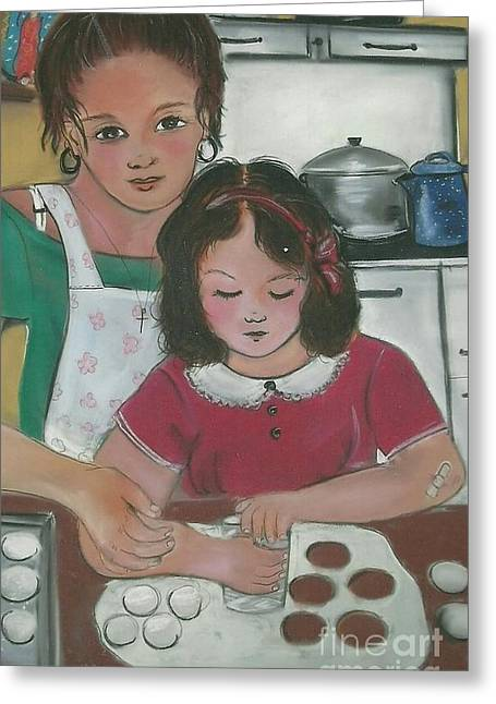 Apron Pastels Greeting Cards - Making Biscochitos Greeting Card by Dolores Aragon
