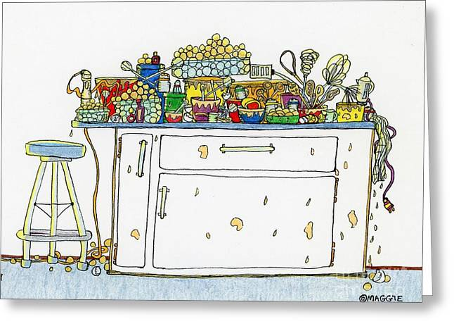 Culinary s Drawings Greeting Cards - Making Cake Balls Greeting Card by Mag Pringle Gire