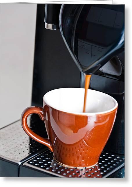Capsule Greeting Cards - Making Espresso Greeting Card by Frank Gaertner