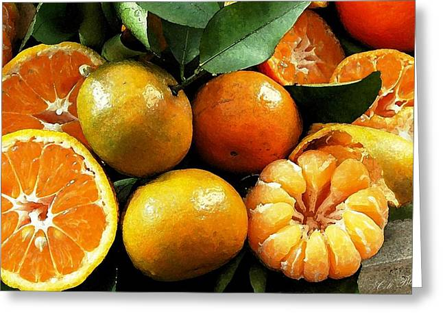 Still Life Photographs Drawings Greeting Cards - Making Juice Greeting Card by Cole Black