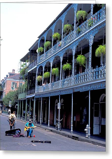 Grillwork Greeting Cards - Making Music on Bourbon Street Greeting Card by Carl Purcell
