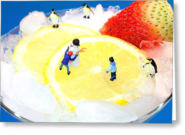 Fantasy World Greeting Cards - Making snowman on Icy drink little people on food Greeting Card by Paul Ge