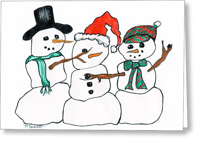 Snow Capped Drawings Greeting Cards - Making Snowman Santa Greeting Card by Minnie Lippiatt
