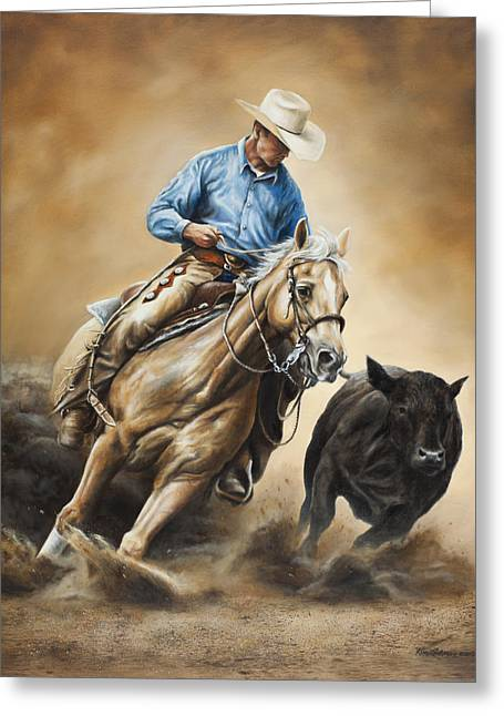 Western Art Greeting Cards - Making the Cut Greeting Card by Kim Lockman