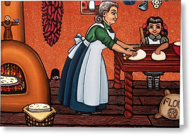 Making Tortillas Greeting Card by Victoria De Almeida