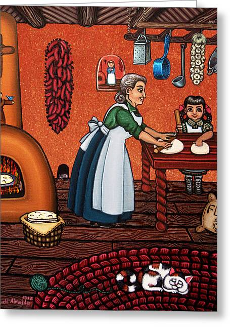 Hispanic Artists Greeting Cards - Making Tortillas Greeting Card by Victoria De Almeida
