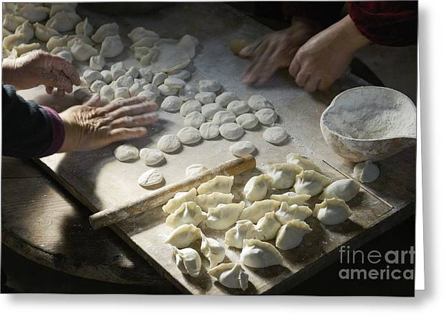 Local Food Greeting Cards - Making traditional dim sum Chinese dumplings in farm kitchen Shandong Province China Greeting Card by David Lyons
