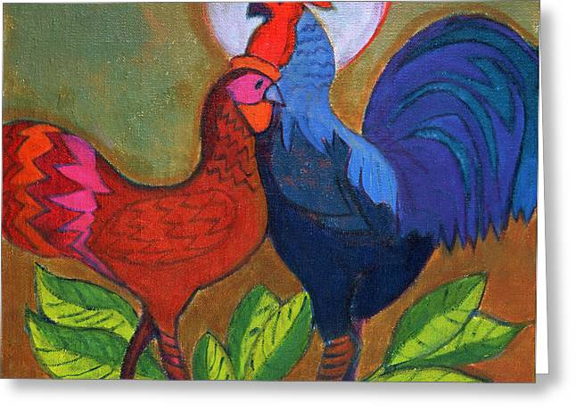 Cockerels Greeting Cards - Making Up Greeting Card by Jeanette Lassen