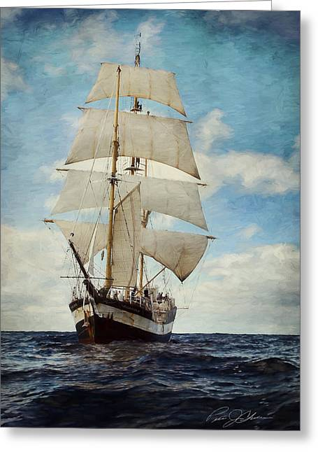 Tall Ships Greeting Cards - Making Way Greeting Card by Peter Chilelli