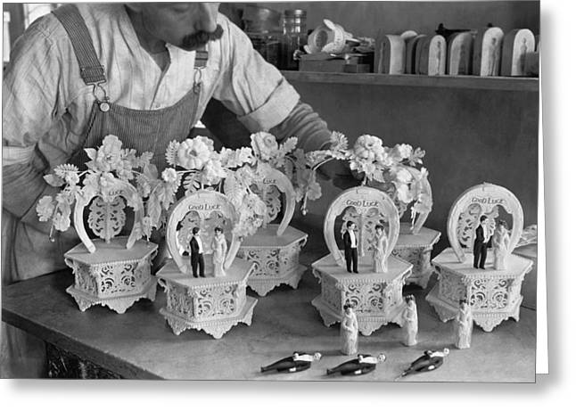Making Wedding Cake Ornaments Greeting Card by Underwood Archives