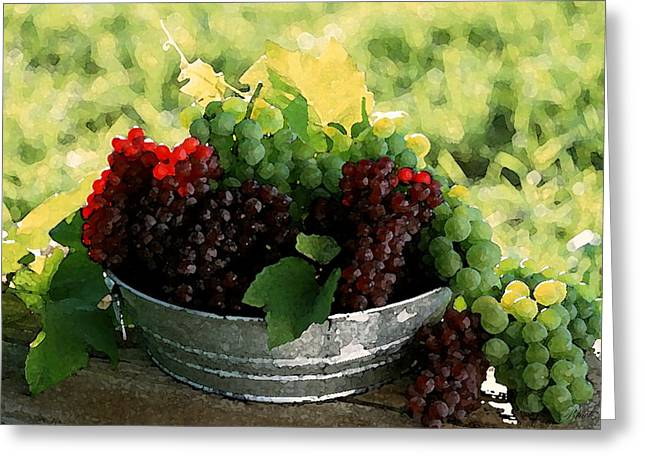 Canvas Wine Prints Drawings Greeting Cards - Making Wine Greeting Card by Cole Black