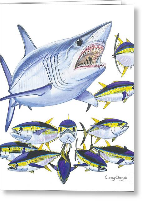 White Shark Paintings Greeting Cards - Mako attack Greeting Card by Carey Chen