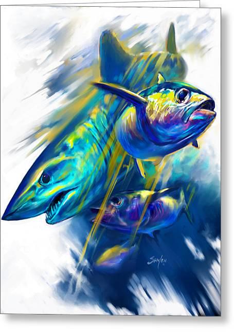 Mako Greeting Cards - Mako Shark and Tuna Fish Art Greeting Card by Mike Savlen