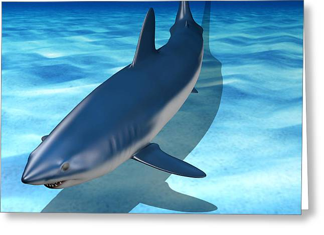 Mako Shark Greeting Cards - Mako Shark Swimming on Ocean Floor Greeting Card by Matt P