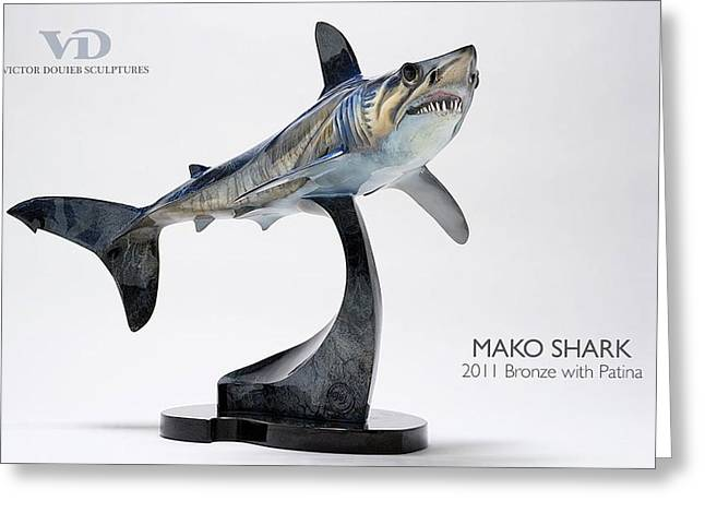 Sharks Sculptures Greeting Cards - Mako Shark Greeting Card by Victor Douieb