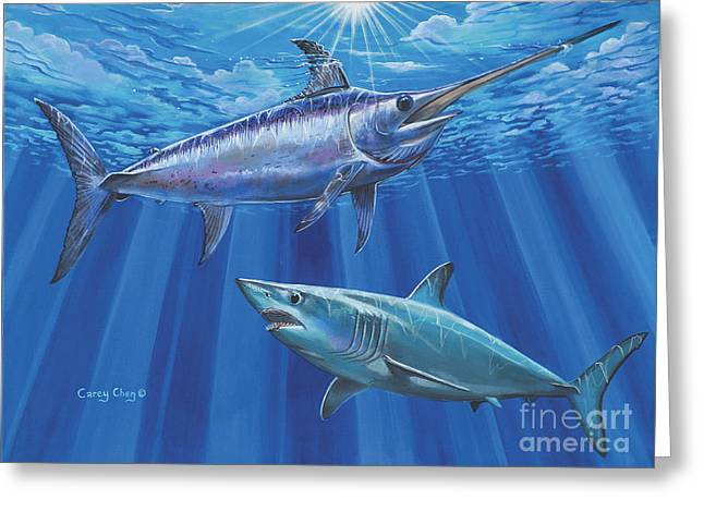 White Shark Paintings Greeting Cards - Mako Sword Off0024 Greeting Card by Carey Chen