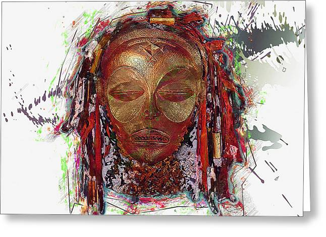 African Heritage Greeting Cards - Makonde Mapiko - Lipiko Mask Greeting Card by Serge Averbukh