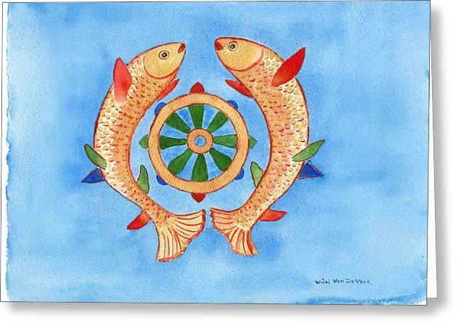 Golden Fish Paintings Greeting Cards - Makya Golden Fish Greeting Card by Wicki Van De Veer