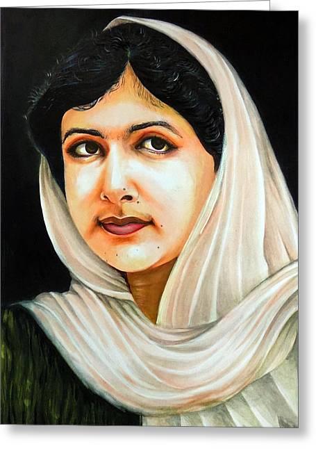 Malala Yousafzai Greeting Card by Arun Sivaprasad