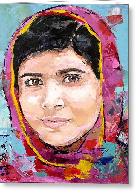 Speech Greeting Cards - Malala Yousafzai Greeting Card by Richard Day