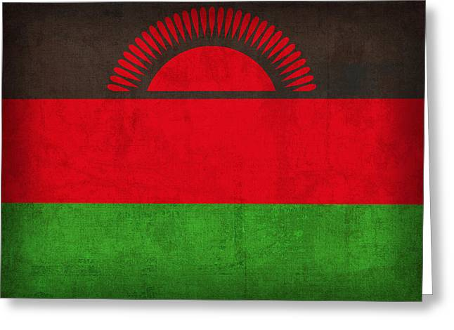 National Symbol Greeting Cards - Malawi Flag Vintage Distressed Finish Greeting Card by Design Turnpike