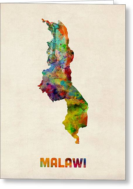 Africa Map Greeting Cards - Malawi Watercolor Map Greeting Card by Michael Tompsett