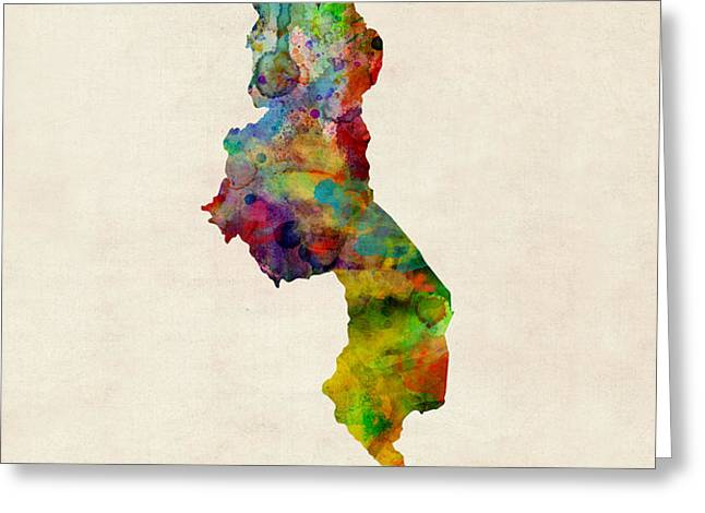 Malawi Watercolor Map Greeting Card by Michael Tompsett