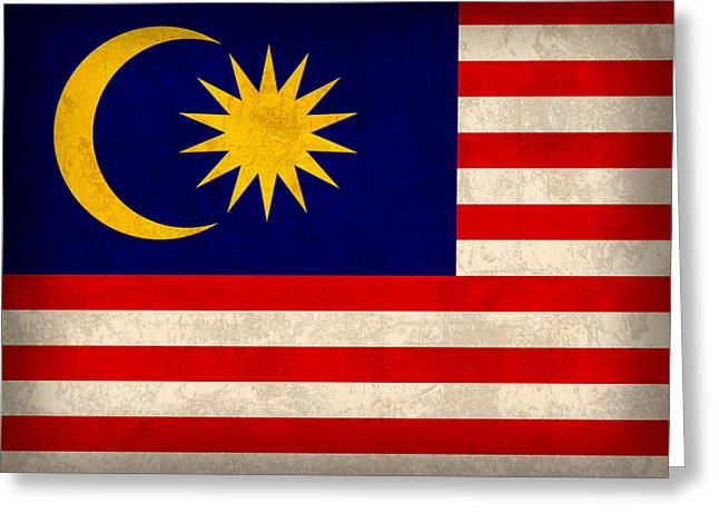 National Symbol Greeting Cards - Malaysia Flag Vintage Distressed Finish Greeting Card by Design Turnpike