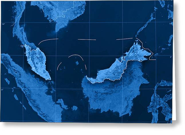 Malaysia Topographic Map Greeting Card by Frank Ramspott