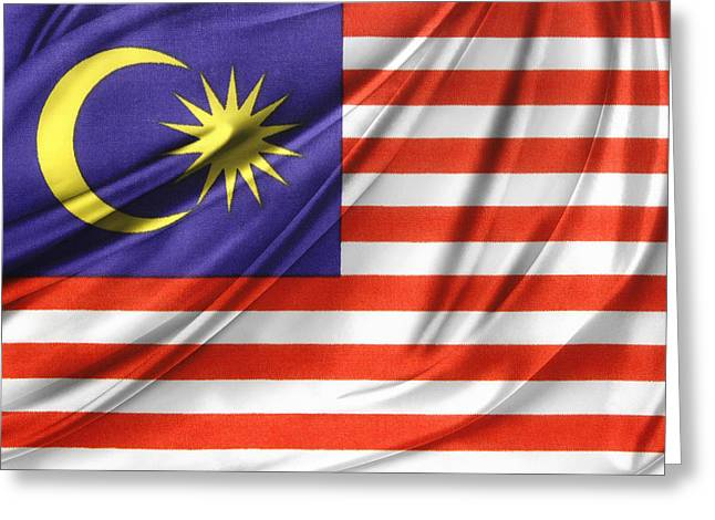 Waving Flag Greeting Cards - Malaysian flag  Greeting Card by Les Cunliffe