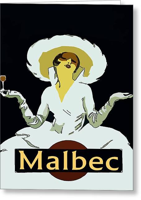 Malbec Vintage Wine Lady Greeting Card by Fig Street Studio