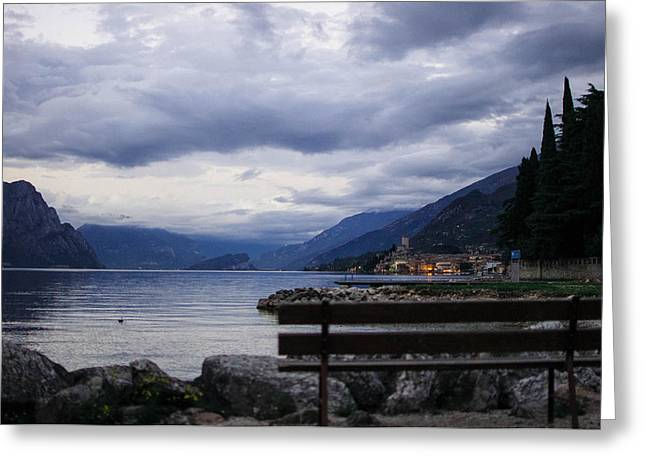 Lead Pyrography Greeting Cards - Malcesine view. Greeting Card by Luca Roveda