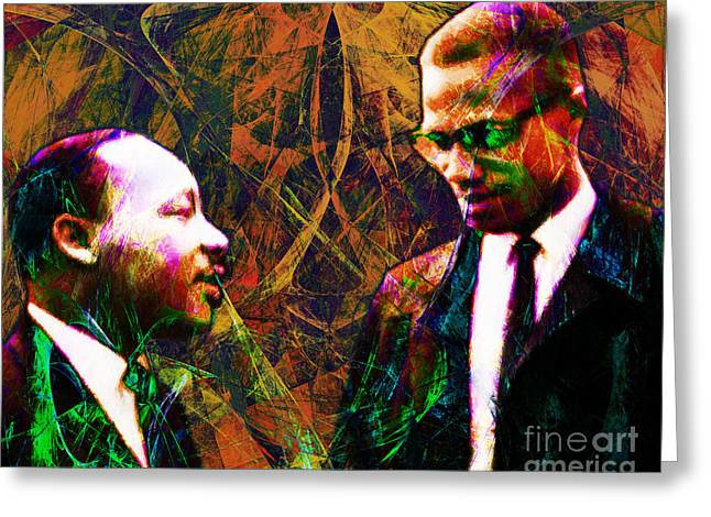 Black History Greeting Cards - Malcolm and The King 20140205 Greeting Card by Wingsdomain Art and Photography