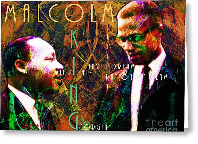 Malcolm X Greeting Cards - Malcolm and The King 20140205 with text Greeting Card by Wingsdomain Art and Photography