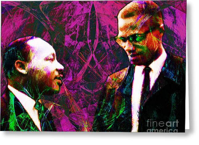 Black History Greeting Cards - Malcolm and The King 20140205m68 Greeting Card by Wingsdomain Art and Photography