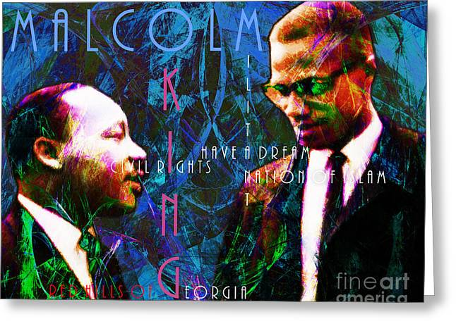 Malcolm X Greeting Cards - Malcolm and The King 20140205p180 with text Greeting Card by Wingsdomain Art and Photography