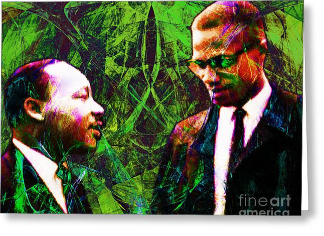 Black History Greeting Cards - Malcolm and The King 20140205p68 Greeting Card by Wingsdomain Art and Photography