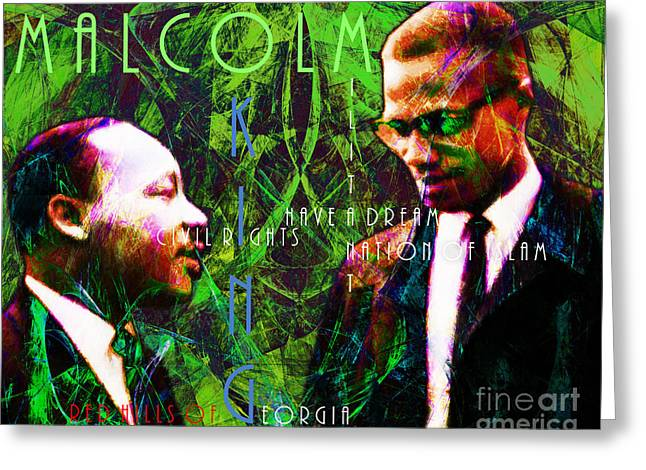 African American History Greeting Cards - Malcolm and The King 20140205p68 with text Greeting Card by Wingsdomain Art and Photography