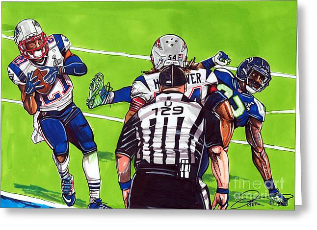 Champ Drawings Greeting Cards - Malcolm Butler The Superbowl Interception Greeting Card by Dave Olsen