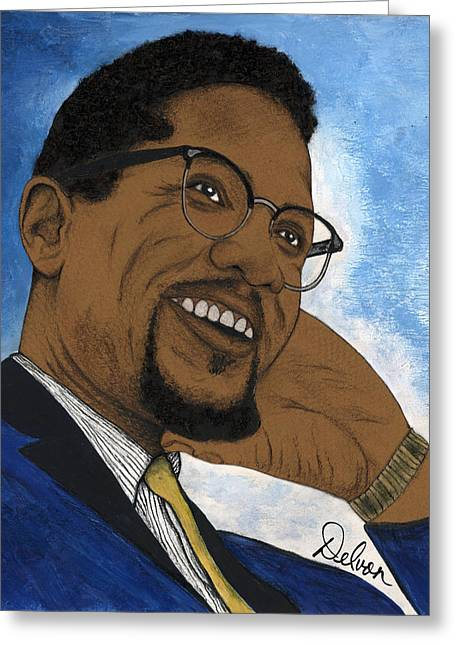 African American History Mixed Media Greeting Cards - Malcolm Greeting Card by Delvon