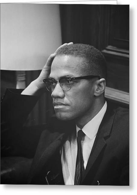 African-american Photographs Greeting Cards - Malcolm X 1964 Greeting Card by Mountain Dreams