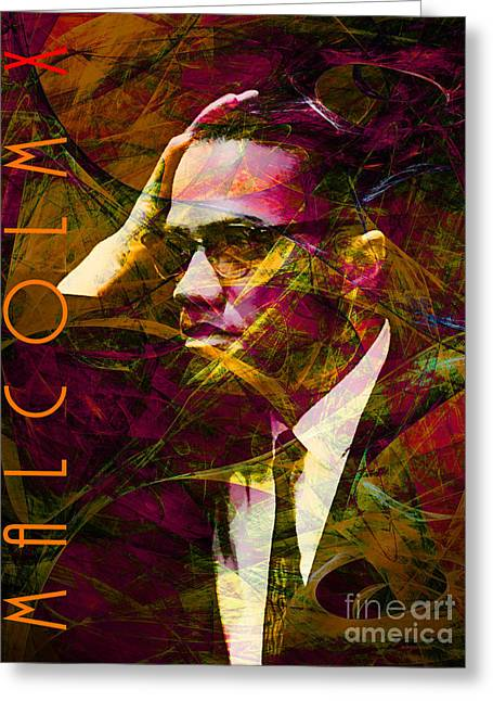African American History Greeting Cards - Malcolm X 20140105 with text Greeting Card by Wingsdomain Art and Photography